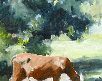 Cow Art Painting, Giclee Print, Original Plein Air Oil Painting, Grazing Cow, Wall Art, Country Decor, Farm Art, Free Shipping