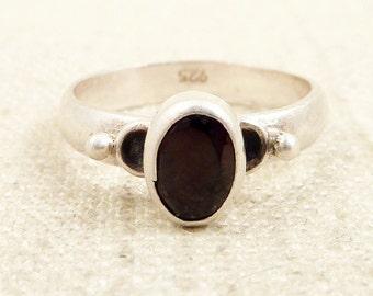 SALE --- Size 6.25 Vintage Garnet and Sterling Ring