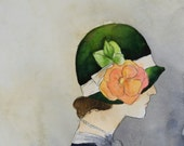 Print - Watercolor and Charcoal Painting - Vintage Fashion Art - Cloche Hat - Portrait - Dorothy's Hat