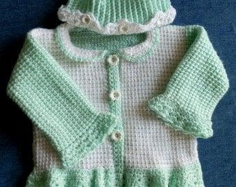 Baby Girl Sweater Set 9 to 12 mo Pattern PDF Tunisian Crochet