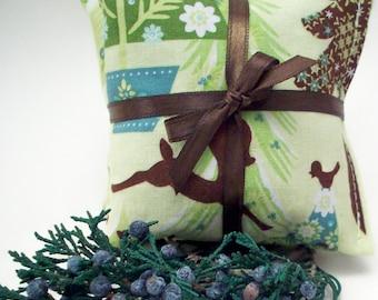 Balsam Fir Sachets in a Retro Woodland Print - Deer Squirrels Birds - Drawer Freshener - Car Sachet - Small Gift