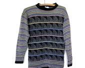 Black Geometric Pattern Sweater Knit Rainbow Vintage 80s S M
