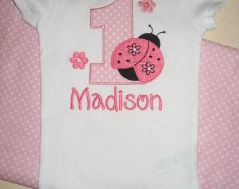 Boutique Birthday Ladybug monogrammed bodysuit one piece