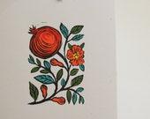 Pomegranate hand block printed print original art