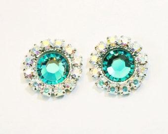 Teal Green Stud Earrings Swarovski Crystal Bridesmaids AB Post earrings Bridal Aqua Halo Flat rhinestones Crystals,Silver,Blue Zircon,SE103
