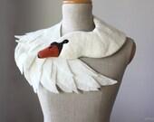 White Swan - felted wool animal scarf, bridal stole / shrug