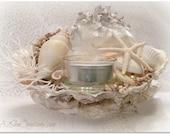 Oyster Shell Tealight Candle Holder - Beach Cottage, Beach Wedding Decor