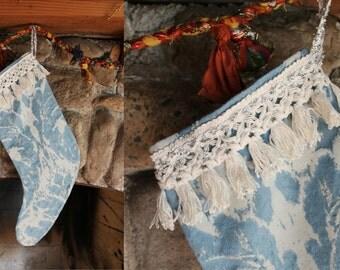 Upcycled Vintage Blue & Ivory Watercolor Crochet Fringe Christmas Stocking