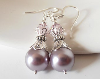 Dusky Purple Bridesmaid Earrings, Swarovski Elements Pearl Dangles in Silver, Mauve Wedding Jewelry, Nickel Free Plated or Sterling Silver