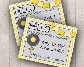 NEW Visiting Teaching Calling Card Customized JPEG (Yellow Grey)