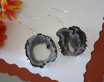 Geode Earrings, Crystal Slice Earrings, Agate, Druzy Silver Earrings, GSE37