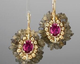 Gold Filled Pink Cubic Zirconia Earrings, Cubic Zirconia Labradorite Cherkes Earrings, Labradorite Earrings, Dangle Earrings