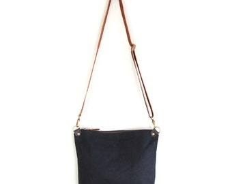 Waxed Canvas Day Bag Purse in Black with Brown Leather