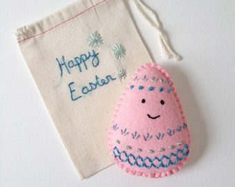 Felt Easter Egg plushie, soft pink Easter hunt treat, hand stitched felt egg, surprise easter gift, Easter bunny treat, HibouDesigns, OOAK