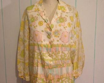 Vintage Floral  70's Top Size 10