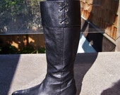 Leather Boots, Enzo Angiolini, Designer Black Boots, Designer Leather boot, size 10 M