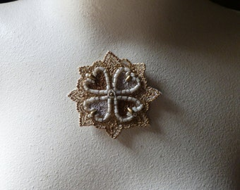 Beaded Applique Exquisite in Gold No 6 for Pendants, Handbags, Costumes, Jewelry, Home Decor.