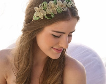Vintage French Beaded Flower Wedding Headpiece Tiara with Green Leaves and Ivory Flowers, for your Wedding Day Flower Crown Wedding Hadpiece