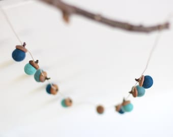 Felted Acorn Garland  - Sea