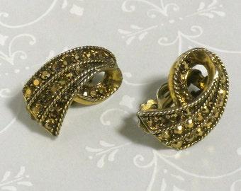 Bronze Marcasite Earrings - Clip Back Earrings
