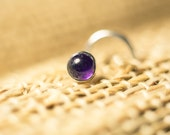Simple Silver 4mm Amethyst Cabochon Nose Stud