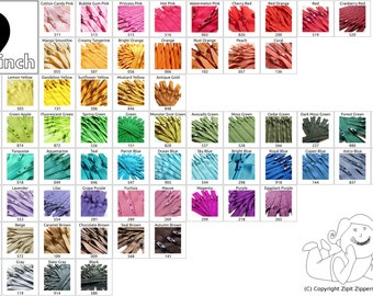 Your Choice Of 10 9 Inch YKK Zippers Mix and Match- Choose from 65 different light, bright, dark and neutral colors