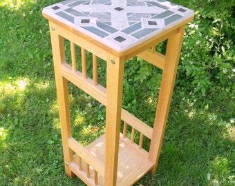 Mosaic Oak Table  Art Deco Design of Stone