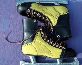 Antique 50s hockey ice skates unusual rockabilly yellow and black leather ornate rustic Maine farm fresh restoration repurpose size 9 or 10