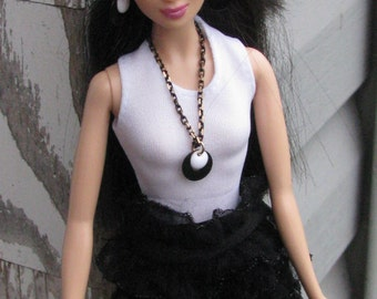 "Black and White Circle Disc Chain Necklace Doll Jewelry Set fits Fashion Dolls 11 1/2"" 1/6th Scale"