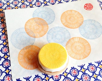 circle pattern stamp. texture hand carved rubber stamp. organic patterns. scrapbooking. gift wrapping. stamps by talktothesun. choose option