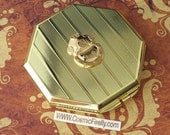 Gold Tone Diving Bell Mirror Case Art Deco Mirror Octagon Shape Gold Case Mirror Compact Case