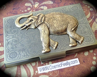 Big Brass Elephant Business Card Case Vintage Inspired Antiqued Brass Card Case Metal Card Holder Victorian Card Case Steampunk Card Case