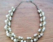 Vintage Goldtone Faux Pearl and Rhinestone Mid-Century Necklace with Leaf Motif