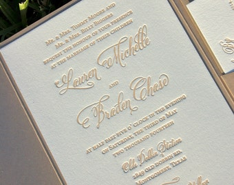 Fawn and Champagne Wedding Invitation, Letterpress Wedding Invitations, Calligraphy Monogram Wedding Invitation