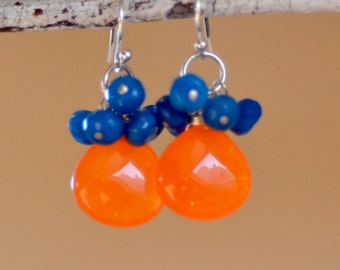 Orange Chalcedony Silver Earrings. OVER THE RAINBOW Bright Orange and Blue Teardrops. Sterling Silver Gemstone Earrings. Fall Jewelry.