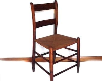 Rush Chair / Vintage 60s Petite Rush Chair Primitive Decor  1800s Style