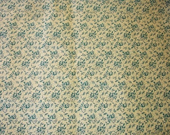 Green Cotton Fabric with Flower design - Forest Green