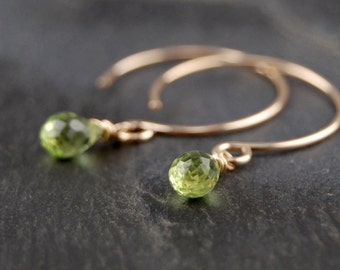 Tiny peridot drop earrings, handmade 14k gold filled jewelry, August birthstone, minimalist and simple, perfect everyday earrings