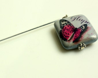 Hope for Cure Shawl Pin, Shawl Stick, Scarf Pin, Hair Pin, Brooch - Scarf Accessory, Butterfly Pin, Hope for a Cure, Gift Idea, Gift for Her