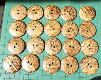 7 extra large 50mm blond coconut shell buttons, 2 inch, XXL coconut buttons, sewing, crafting, 7B