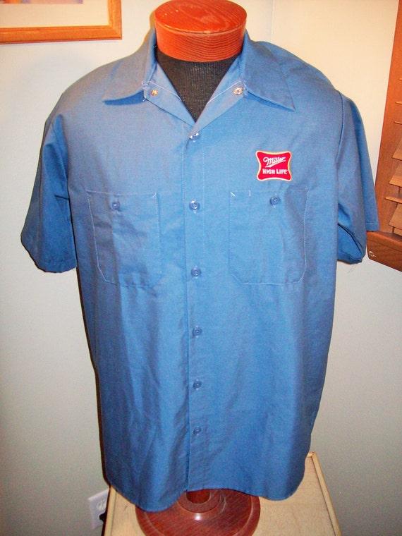 Vintage 80s Miller Beer Red Kap Brewery Work Shirt Short