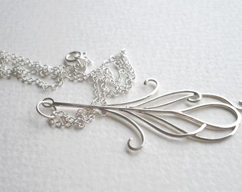 Peacock Feather Pendant in Sterling Silver - by Kirsty O'Donnell