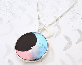 Two Moons Locket Necklace - Silver