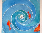 fishes and whirlpool abstract blue original watercolor painting