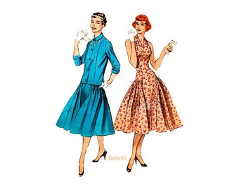 Rare 1950s Halter Dress Pattern Butterick 7244, Fitted Bodice, Full Skirt Drop Waist Dress with Jacket, Vintage Sewing Patterns, Uncut