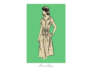 1970s Dress Pattern Anne Adams 4941, Flared A Line Skirt, Raglan Sleeves, Tie Belt, Bust 40, Uncut FF Vintage Sewing Pattern