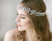 Bridal Halo , Wedding Headpiece , Bridal Hair Accessory , Bridal  Forehead Band ,Opal Crystal Halo , Bohemian Bridal Headpiece