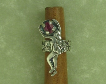 Fairy fine silver ear cuff holding pink ruby sapphire on myrtle flower vine DTPD