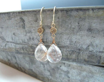 Faceted Golden Rutilated Clear Quartz Teardrop and Patterned Bronze Metal Clay Earrings
