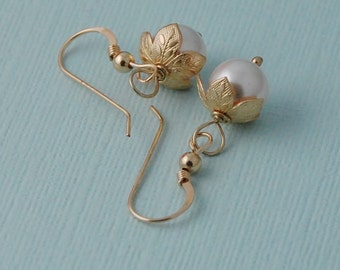 Pearl earrings, 14k gold fill pearl earrings